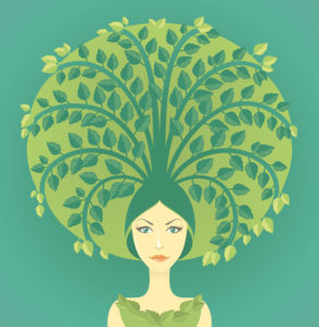 13153669 - woman with miniature tree growing from her hairs. conceptual illustration about conservation of environment, planting trees, starting new life.